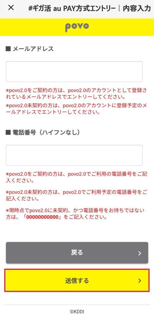 povo2.0 更に電話番号、メールアドレスを確認して「送信する」をタップ